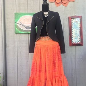 Soft Surroundings Orange pleated maxi skirt size S